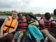 Allyson Nelson with data collection team members traveling to communities inaccessible by road after the widespread flooding in Malawi in 2015